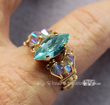 Swarovski Alexandrite, Hand Crafted Ring, Wire Wrapped, June Birthstone