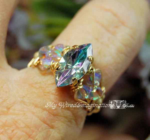 Vintage Swarovski Vitrail Light Crystal Handmade Ring in 14K GF