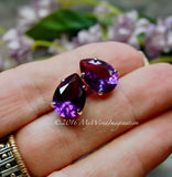 Color Change Alexandrite, 14x10mm Pear Shape, With Sew On Setting