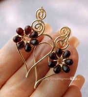 Charming Hearts Earrings in 14k GF,  Dark Red Flowers Handmade Earrings