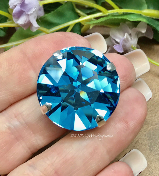 27mm Genuine Swarovski Crystal Aquamarine, 1201 Round Crystal With or Without Setting