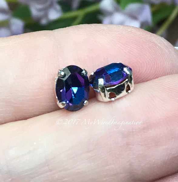 Vintage Swarovski Crystal Heliotrope, 2 Pieces, 8x6mm Oval with Setting