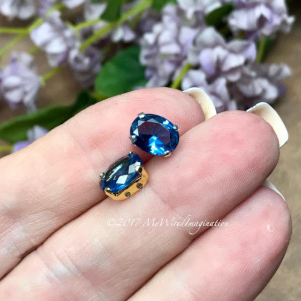 Blue Zircon, Lab-Created Faceted Gemstone, 9x7mm Oval, Your Choice SP or GP Setting