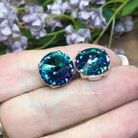 14mm Rivoli, Blue Lagoon, Genuine Swarovski Crystal, Art 1122 UNF With Setting