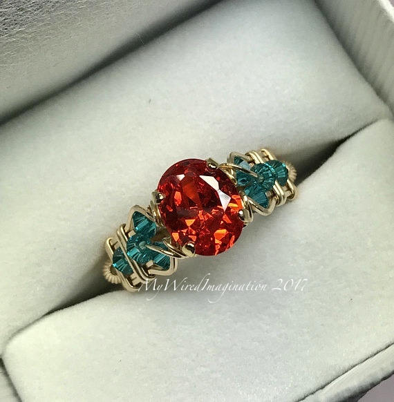 Sapphire Padparadscha Orange CZ and Blue Zircon,  Handmade Wire Wrapped Ring