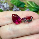 Ruby, 14x10mm Pear Shape, Lab-Grown, Lab-Created Faceted Gemstone