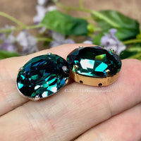 Sargasso Sea, Swarovski 18x13mm 4120 Oval, with Silver or Gold Plated Sew On Setting