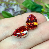 Padparadscha Orange CZ, 14x10mm Pear Shape, Faceted Gemstone