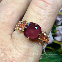 Dark Red & Light Rose AB, Swarovski Crystal Handmade Ring, in Sterling or 14K GF