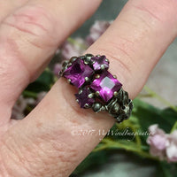 Alexandrite Squared, Sterling Silver, Multi-Stone Handmade Ring, June Birthstone, Made to Order