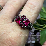 Ruby Squared, Sterling Silver, Multi-Stone Handmade Ring, in Sterling Silver US Size 8