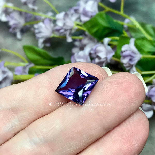 Faceted Alexandrite, 12 x 12mm  Square,  9.5 ct Faceted Color Change Gemstone