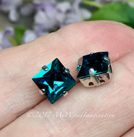 Blue Zircon Crystal, 8mm Square Vintage Swarovski, 2 Pieces  Art 4400 with Setting