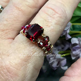 Ruby Red Octagon, Vintage Swarovski Crystal, Handmade Ring, July Birthstone, US Size 5.5