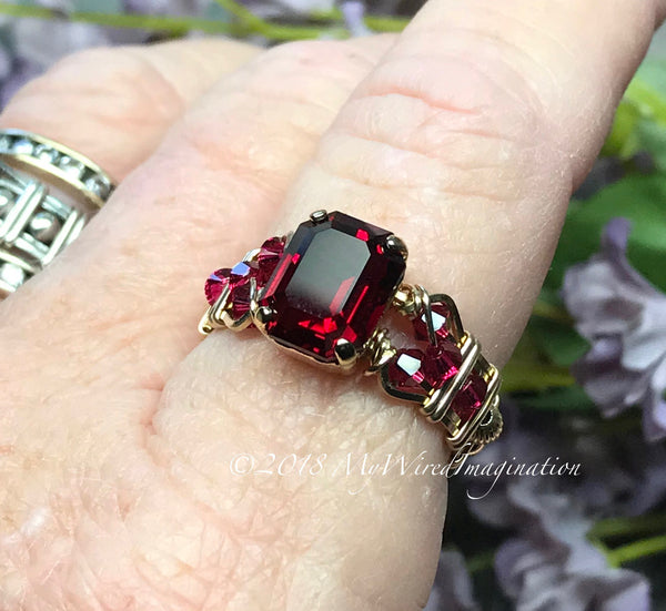Ruby Red Octagon, Vintage Swarovski Crystal, Handmade Ring, July Birthstone, US Size 7