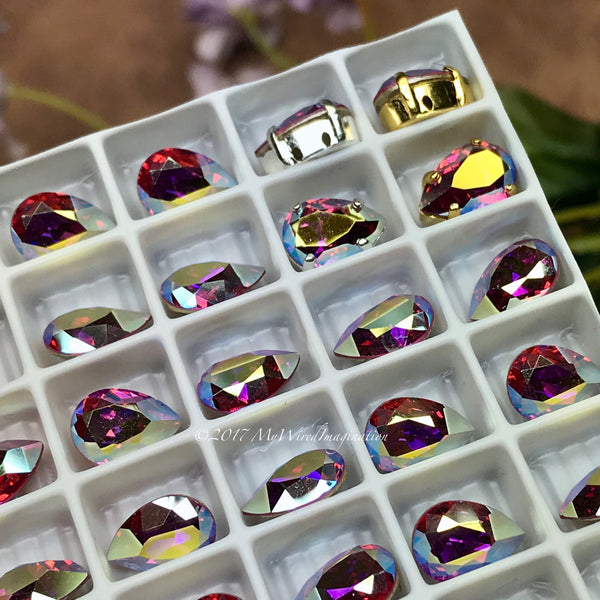 Rose AB, Vintage Swarovski Crystal, 10x7mm Pear 4320, 2 or 4 Pieces With Settings