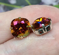 Tangerine Purple Haze, Swarovski Crystal 10mm, 4470 Cushion Cut with Setting