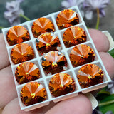 Tangerine Orange, Swarovski Crystal 10mm Rivoli, Sew On Crystal with Setting