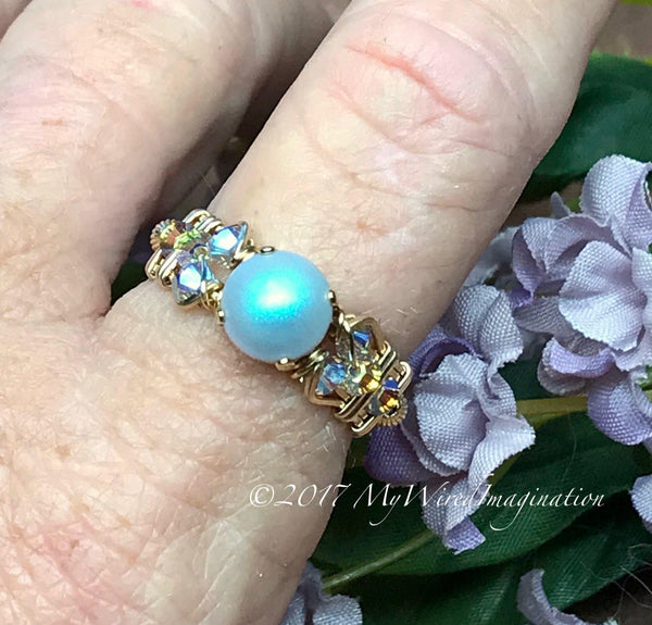 Swarovski Crystal Pearl Ring, Iridescent Light Blue Pearl & Swarovski Crystal, Handmade Ring