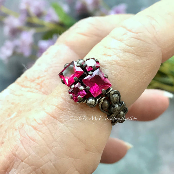Ruby Squared, Sterling Silver, Multi-Stone Handmade Ring, Lab Created Ruby Ring, Made to Order