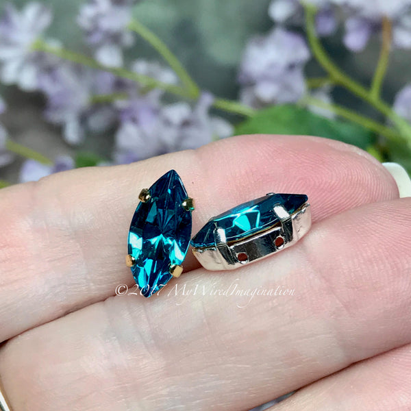 Blue Zircon, Vintage Swarovski 15x7mm Navette, With Setting