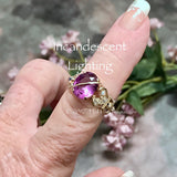 Alexandrite and Crystal Ring, Lab Created Color Change Gemstone, Wire Wrapped Ring