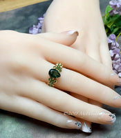 Hydrothermal Green Quartz, Emerald Green Hand Crafted Wire Wrapped Ring