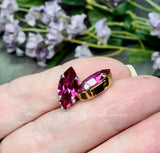 Fuchsia Pink, Vintage Swarovski 15x7mm Navette, With Sew On Setting