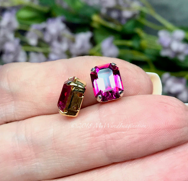 Fuchsia Pink Octagon, 2 pcs Swarovski Crystal 10x8mm, Art 4600 With Prong Setting