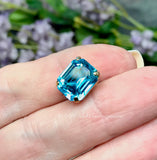 Swarovski Aquamarine, 12x10mm Light Blue, Octagon 4610, Silver or Gold Plated Setting