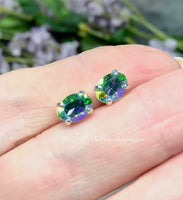 2 Pcs Swarovski Peridot AB, 8x6mm Oval, Silver or Gold Plated Prong Setting