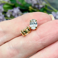 Swarovski Transparent Crystal, 2 pcs 8x6mm Oval, Silver or Gold Plated Prong Setting