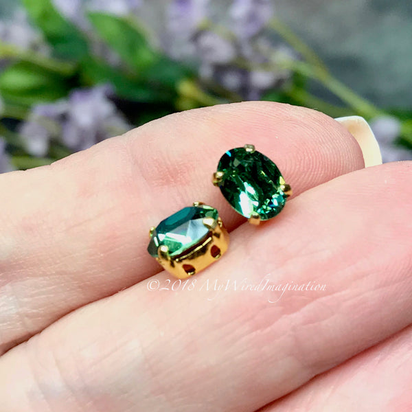 2 Pcs Swarovski Erinite, 8x6mm Oval, Silver or Gold Plated Prong Setting