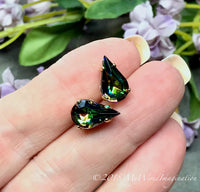 Vitrail Medium, Vintage Czech Crystal, 13 x 7.8mm Pear Shape With Prong Setting, 2pcs