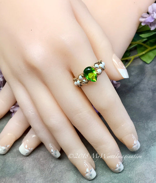 Pearl and Peridot, Handmade Ring in 14k GF, August Birthstone