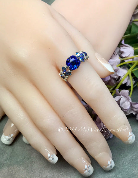 Vintage Swarovski Sapphire Blue Crystal Handmade Wire Wrapped Ring