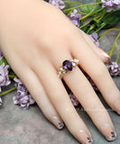 Alexandrite and Pearl Ring Handmade Ring in 14k Gold Filled Size 8.5