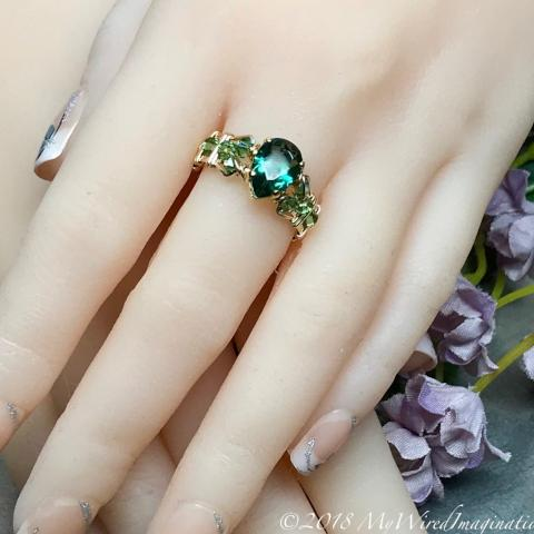 Hydrothermal Green Quartz, Erinite Emerald Green Handmade Ring