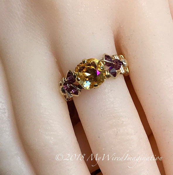 Swarovski Crystal Handmade Ring, Amber Blush and Amethyst, Wire Wrapped Ring