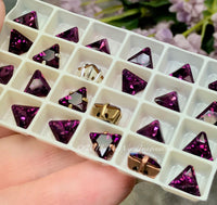 Amethyst - 2 Pcs, Rare Swarovski Crystal 8mm Triangle Art 4722, with Setting
