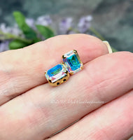 Vintage Swarovski Crystal AB, 2 Pieces, 8x6mm Octagon 4610 With Prong Setting