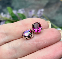 Fuchsia Pink Oval, Swarovski Crystal 2 pcs 10x8mm, Art 4120 With Prong Setting