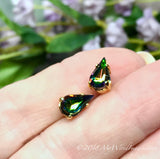 Vitrail Medium, Watermelon, Vintage Czech, Faceted Crystal 10x6mm Pear Shape, 2pcs