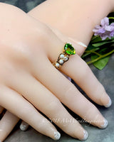 Pearl and Peridot, Handmade Ring in 14k GF, August Birthstone US Size 7