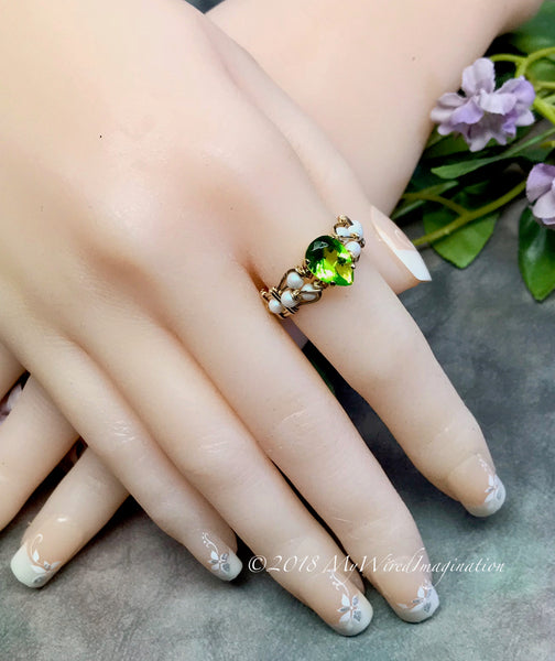 d60b40800 ... Peridot and Pearl, Hand Crafted Wire Wrapped Ring in 14k GF or SS  August Birthstone ...