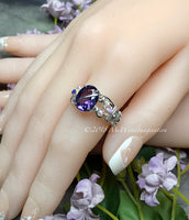 Alexandrite and Crystal Ring, Lab Created Color Change Gemstone, Made to Order Ring
