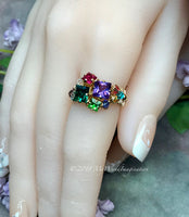 Mother's Ring, Family Birthstones Ring, Chakra Rainbow Ring, All Birthstone Colors