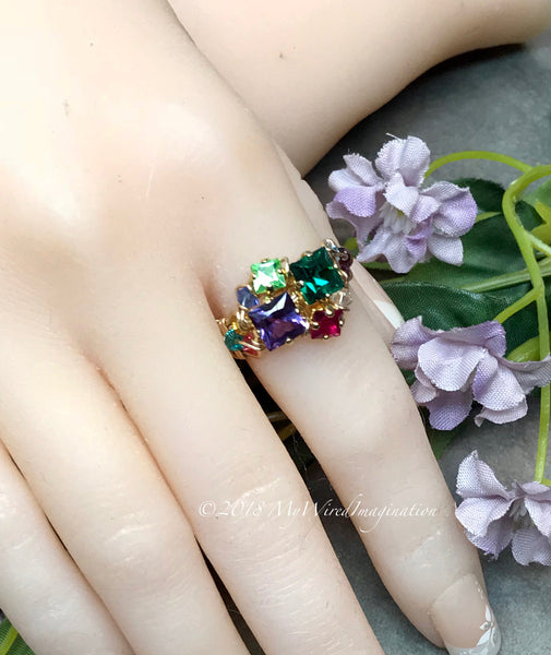 Mother's Ring, Year of Gemstones, 12 Birthstone Handmade Ring in 14K GF