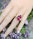 Hot Pink & Pearl Handmade Ring, Pink Sapphire and Swarovski Crystal Pearls, September October Birthstone