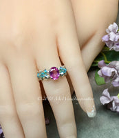 Pink Sapphire and Swarovski Crystal Handmade Ring Sterling Silver US Size 4.5